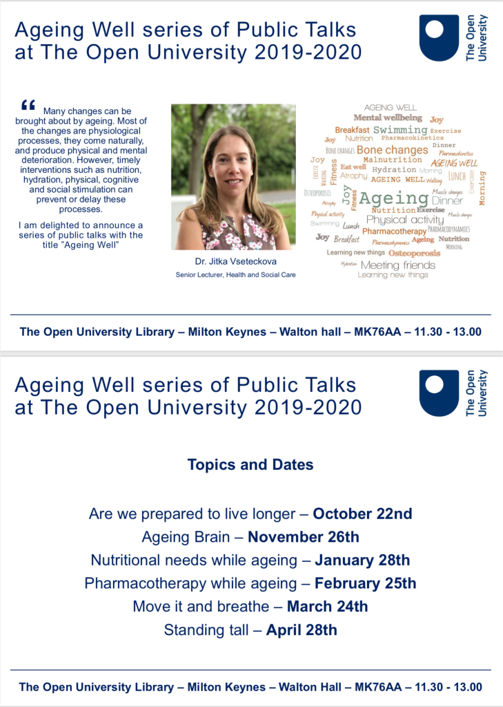 Ageing Well OU public talks flyer 2019/20